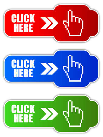 click icon: Vector click here button Illustration