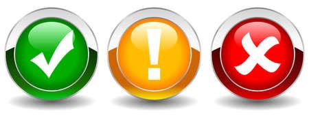 point d exclamation: Jeu de boutons de sécurité vecteur Illustration