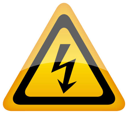risks button: Vector high voltage sign, eps10 Illustration