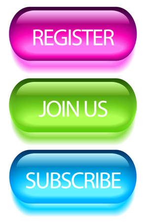 subscribe: Registration buttons set Stock Photo