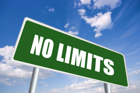 sky is the limit: No limits road sign Stock Photo