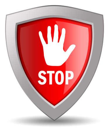 Stop shield icon Stock Photo - 10327465