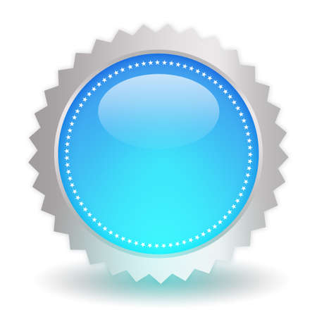 Glossy blue icon on white background photo