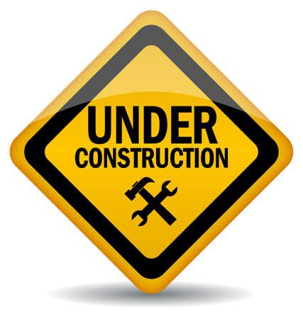 caution sign: Segno vettoriale in costruzione