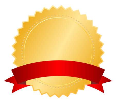 zeehonden: Blanco certificaat met lint, vector illustratie Stock Illustratie