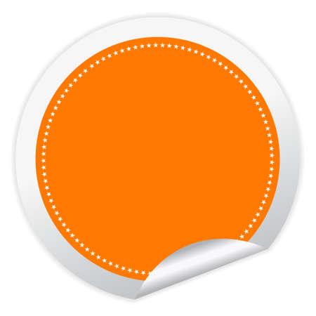 오렌지: 가장자리가 말린 된 모서리와 빈 벡터 스티커