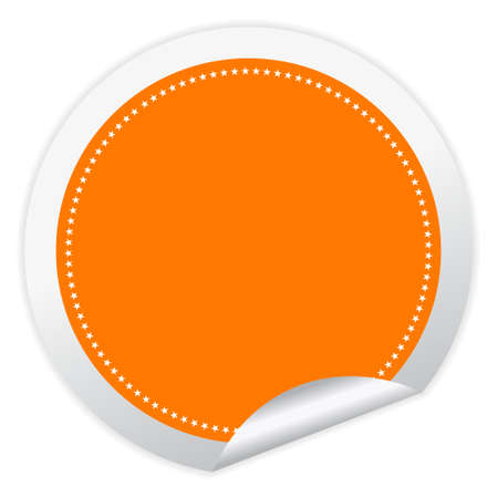 etiquetas redondas: Adhesivo de vector en blanco con la esquina rizado
