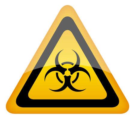 riesgo quimico: Señal de advertencia de riesgo biológico, ilustración vectorial Vectores
