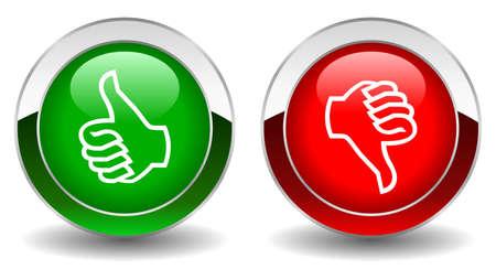 no gustar: Pulgares arriba y abajo botones brillantes vector Vectores