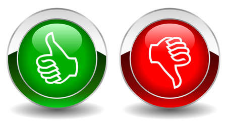 Thumbs up and down shiny vector buttons Vector