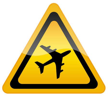 triangular warning sign: Airport sign Stock Photo