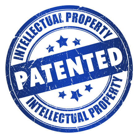 intellectual property: Patented intellectual property stamp Stock Photo