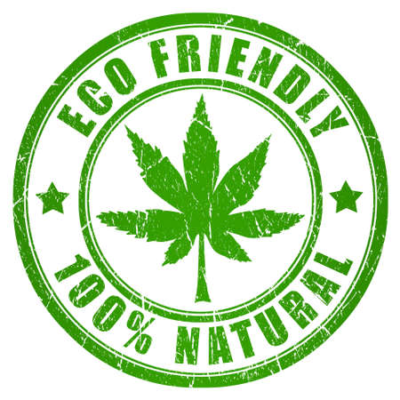 cannabis: Sello de cannabis eco amigable Foto de archivo