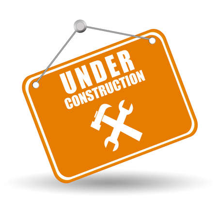 in the reconstruction: Under construction label Stock Photo