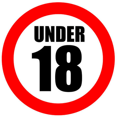 children only: Under eighteen sign Stock Photo