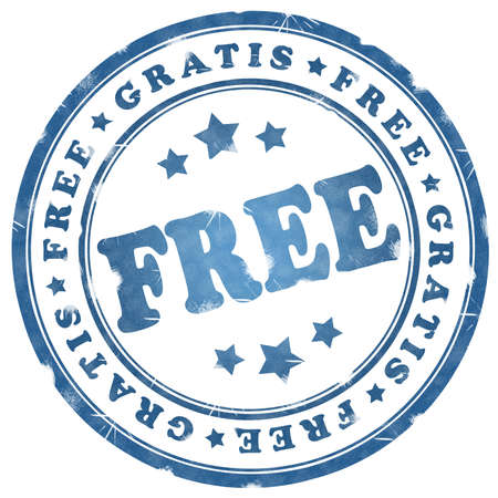 free offer: Free blue ink stamp over white Stock Photo