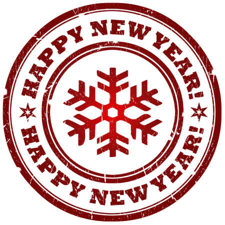 Happy new year stamp with snowflake photo