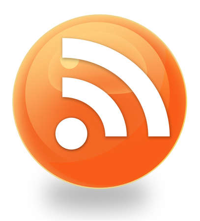 really simple syndication: Rss orb icon Stock Photo