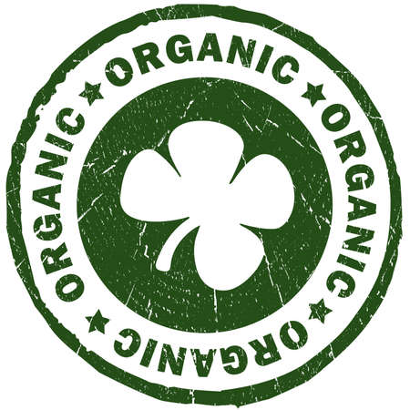 Organic green stamp isolated over white Stock Photo - 11841383