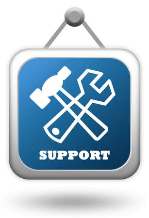 computer repairing: Support sign over white