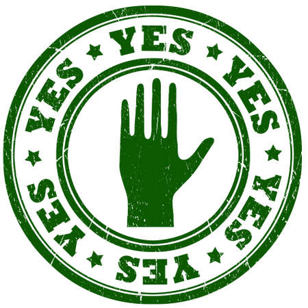 Yes green grunge stamp photo
