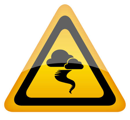 rainstorm: Hurricane warning sign, vector illustration