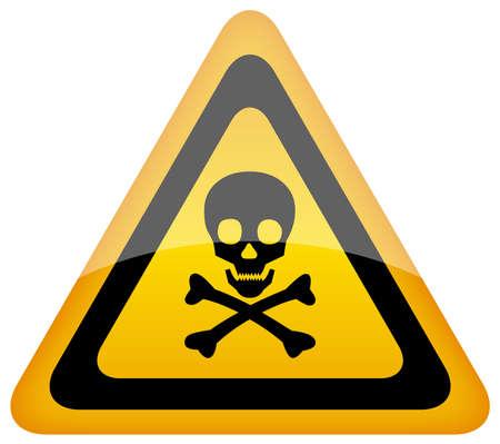 cráneo, señal de peligro Ilustración de vector