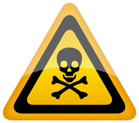 triangular warning sign:  skull danger sign