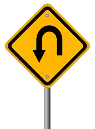 warning indicator: Turn back road sign,  illustration