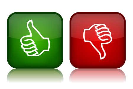 evaluacion: Pulgares hacia arriba y hacia abajo los botones de retroalimentación, ilustración vectorial