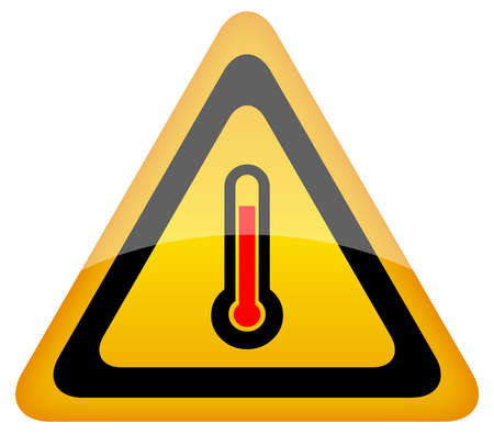 temperature: High temperature warning sign, illustration