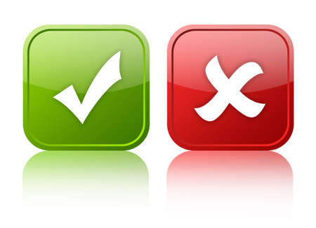 tick icon: Tick and cross buttons Stock Photo