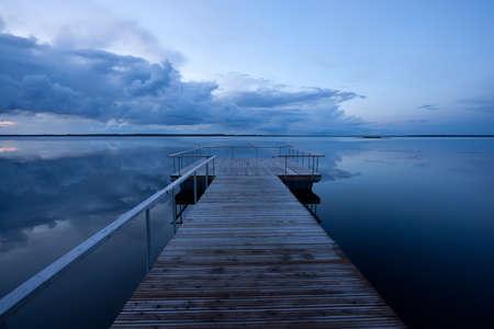 duskiness: Calm sea evening Stock Photo