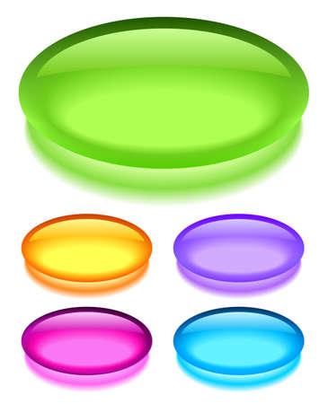 shiny button: Oval glass buttons, illustration