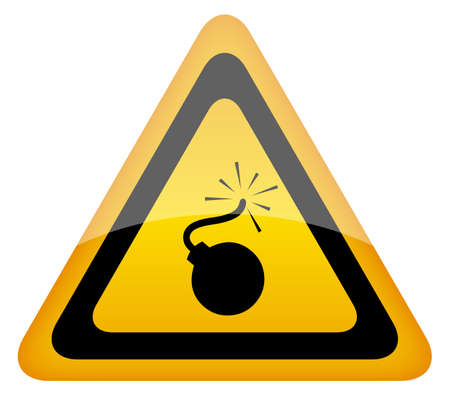explosives: Bomb warning sign, illustration