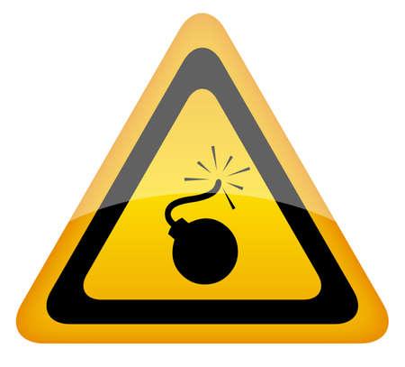 nitroglycerin: Bomb warning sign, illustration
