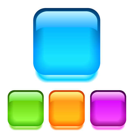 blue button: glass square buttons