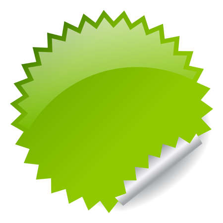 post it notes: Green sticker illustration
