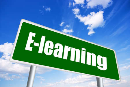 e learn: E-learning illustrated sign