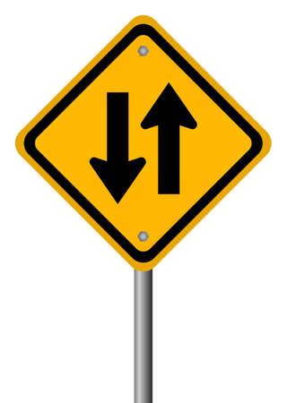 Twee manier verkeersbord illustratie Vector Illustratie