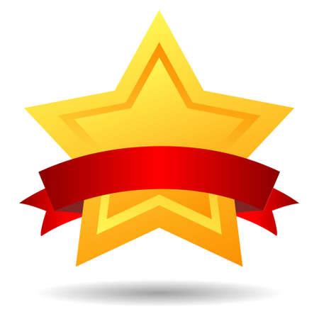 premios: estrella de la ilustraci�n con la cinta roja Vectores