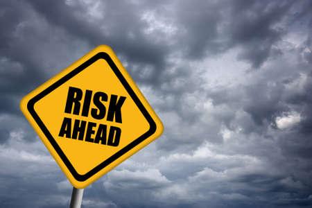 risky: Risk ahead sign
