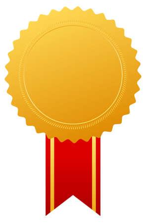 medal ribbon: Gold award medal with ribbon, vector illustration