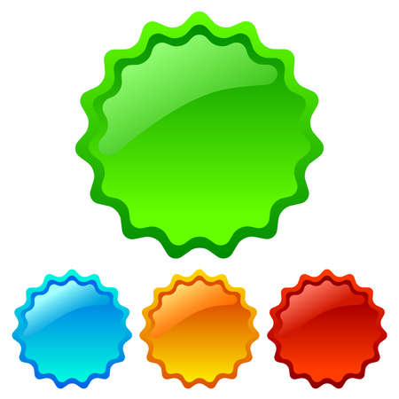 star burst: Vector glossy star stickers set