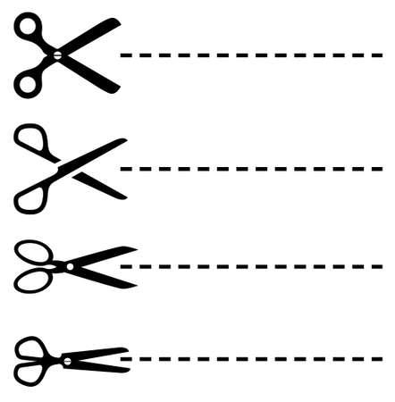 Vector líneas de puntos con unas tijeras establece