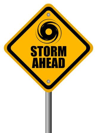 evacuatie: Storm waarschuwing teken, vector illustration Stock Illustratie