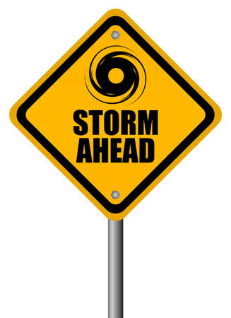 warning signs: Storm warning sign, vector illustration