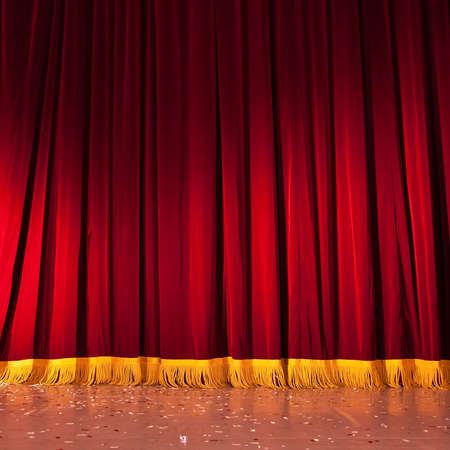 red stage curtain: Red stage