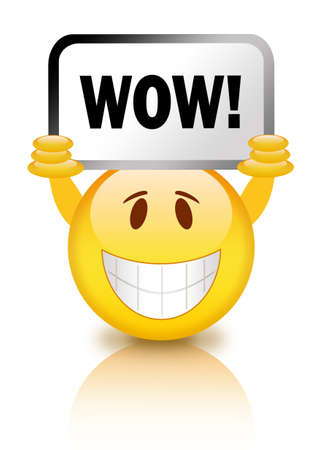 Smiley with wow sign Stock Photo - 13986262
