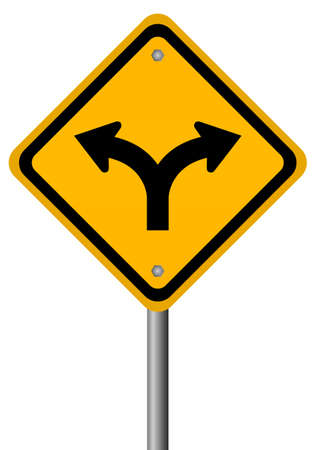two way traffic: Fork in the road sign